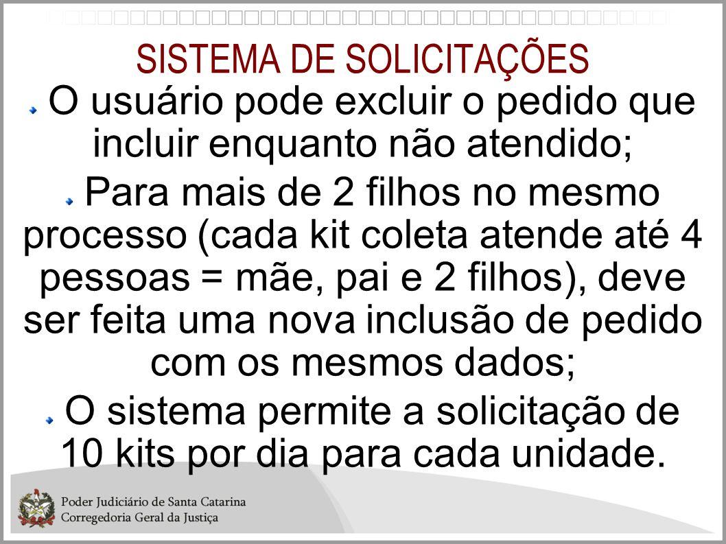 SISTEMA DE SOLICITAÇÕES O usuário pode excluir o pedido que incluir enquanto não atendido; Para mais de 2 filhos no mesmo processo (cada kit coleta at