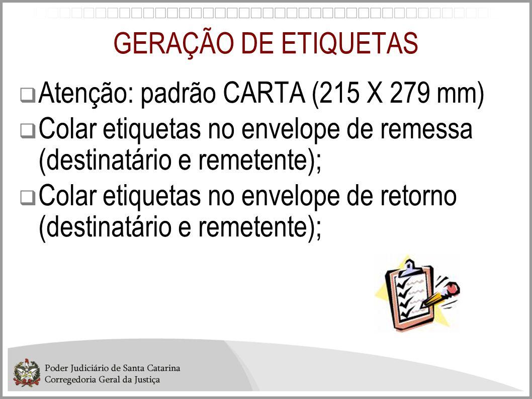 GERAÇÃO DE ETIQUETAS  Atenção: padrão CARTA (215 X 279 mm)  Colar etiquetas no envelope de remessa (destinatário e remetente);  Colar etiquetas no