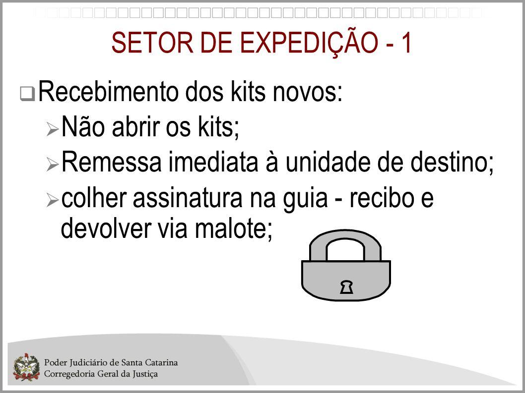 SETOR DE EXPEDIÇÃO - 1  Recebimento dos kits novos:  Não abrir os kits;  Remessa imediata à unidade de destino;  colher assinatura na guia - recib