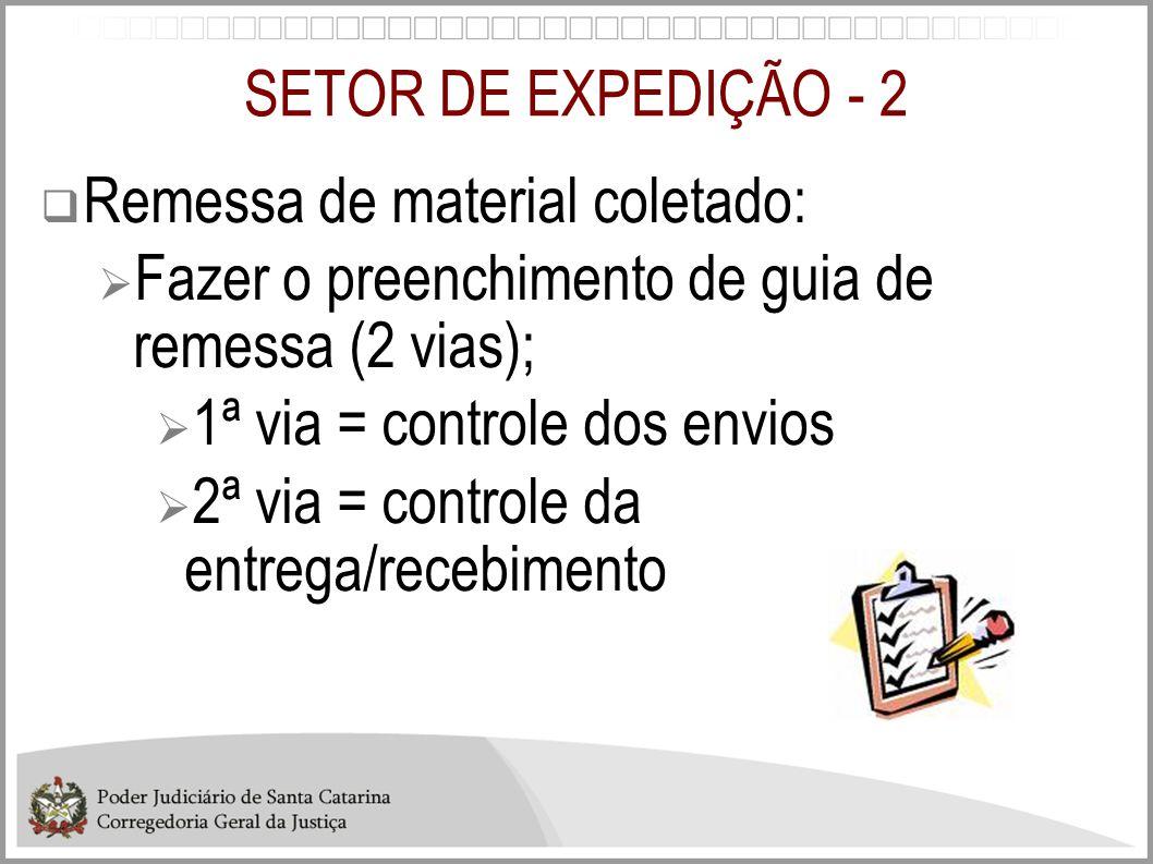 SETOR DE EXPEDIÇÃO - 2  Remessa de material coletado:  Fazer o preenchimento de guia de remessa (2 vias);  1ª via = controle dos envios  2ª via =
