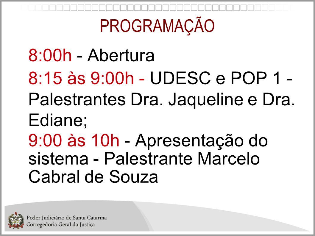 PROGRAMAÇÃO 8:00h - Abertura 8:15 às 9:00h - UDESC e POP 1 - Palestrantes Dra. Jaqueline e Dra. Ediane; 9:00 às 10h - Apresentação do sistema - Palest