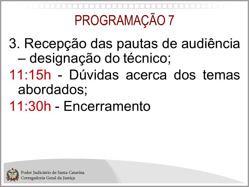 PROGRAMAÇÃO 7 3. Recepção das pautas de audiência – designação do técnico; 11:15h - Dúvidas acerca dos temas abordados; 11:30h - Encerramento