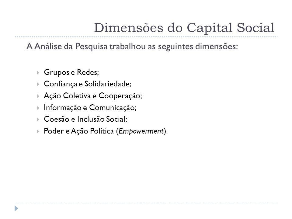 Dimensões do Capital Social A Análise da Pesquisa trabalhou as seguintes dimensões:  Grupos e Redes;  Confiança e Solidariedade;  Ação Coletiva e C