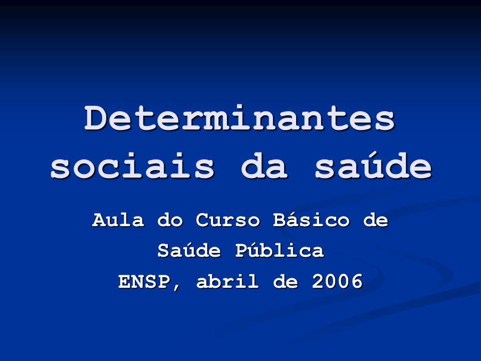 Determinantes sociais da saúde Aula do Curso Básico de Saúde Pública ENSP, abril de 2006
