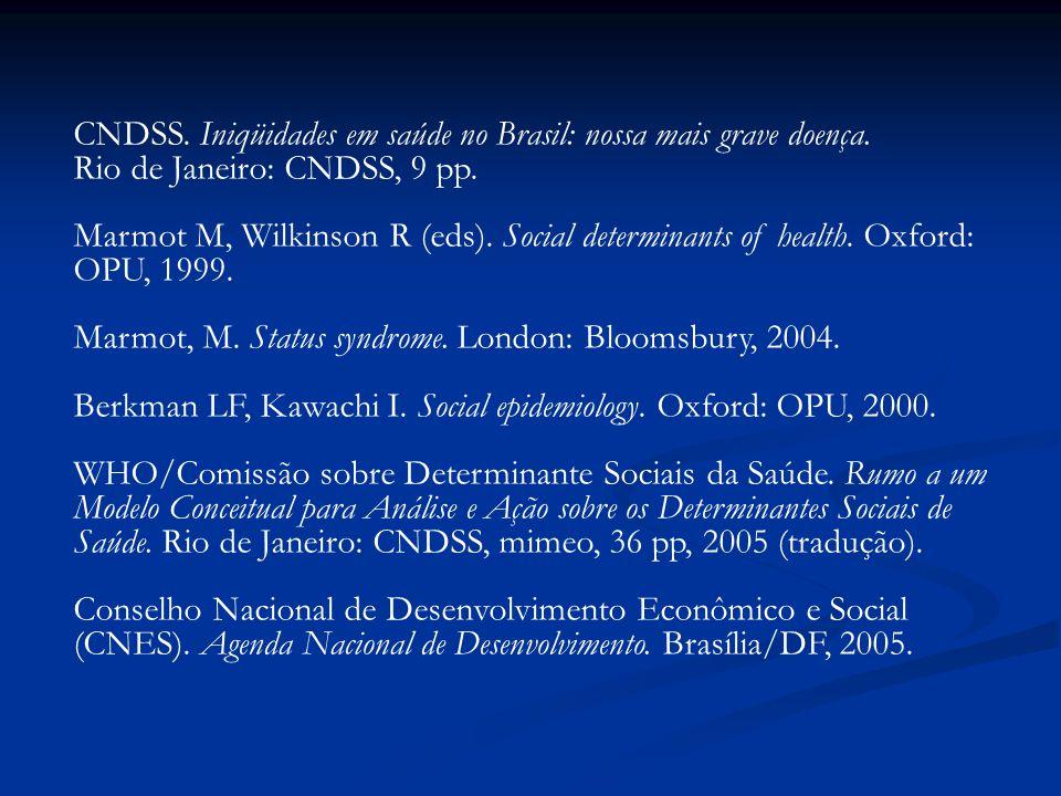 CNDSS. Iniqüidades em saúde no Brasil: nossa mais grave doença. Rio de Janeiro: CNDSS, 9 pp. Marmot M, Wilkinson R (eds). Social determinants of healt