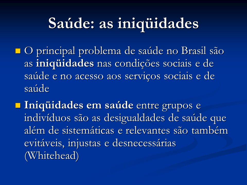 Saúde: as iniqüidades  O principal problema de saúde no Brasil são as iniqüidades nas condições sociais e de saúde e no acesso aos serviços sociais e