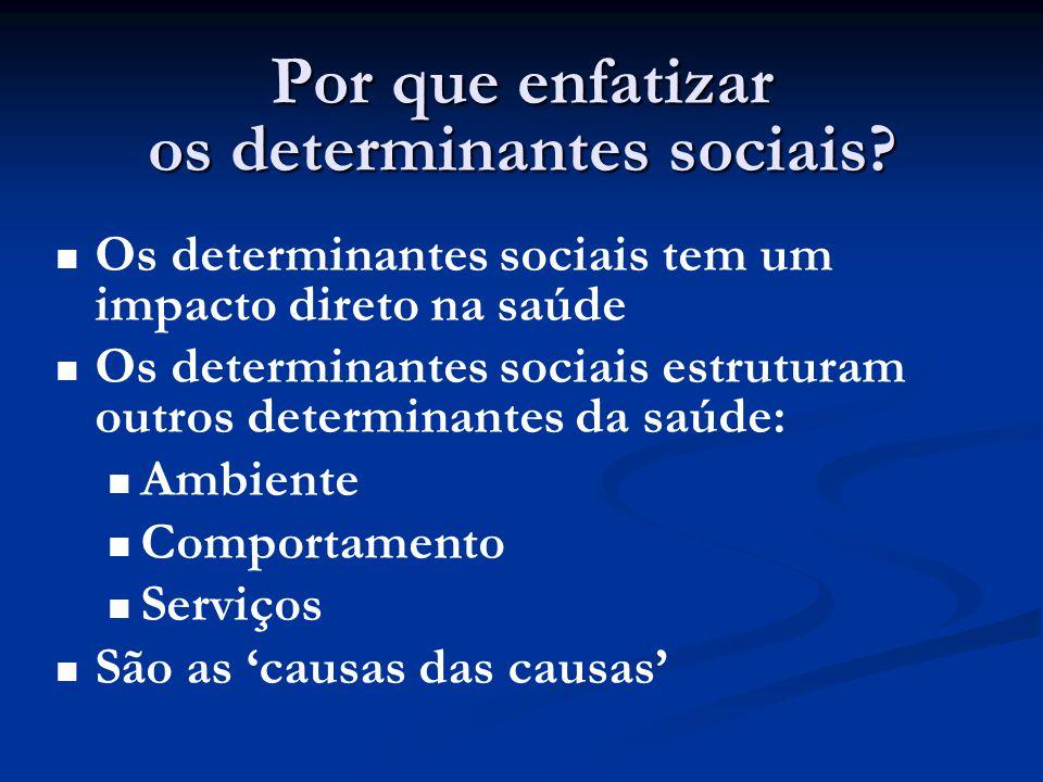 Por que enfatizar os determinantes sociais?   Os determinantes sociais tem um impacto direto na saúde   Os determinantes sociais estruturam outros