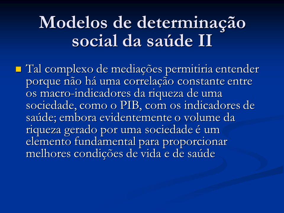 Modelos de determinação social da saúde II  Tal complexo de mediações permitiria entender porque não há uma correlação constante entre os macro-indic