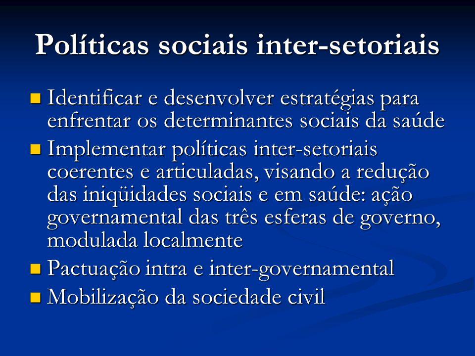 Políticas sociais inter-setoriais  Identificar e desenvolver estratégias para enfrentar os determinantes sociais da saúde  Implementar políticas int