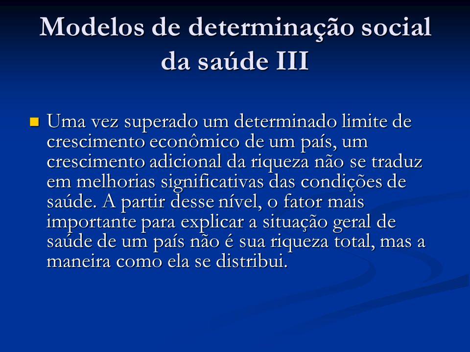 Modelos de determinação social da saúde III  Uma vez superado um determinado limite de crescimento econômico de um país, um crescimento adicional da
