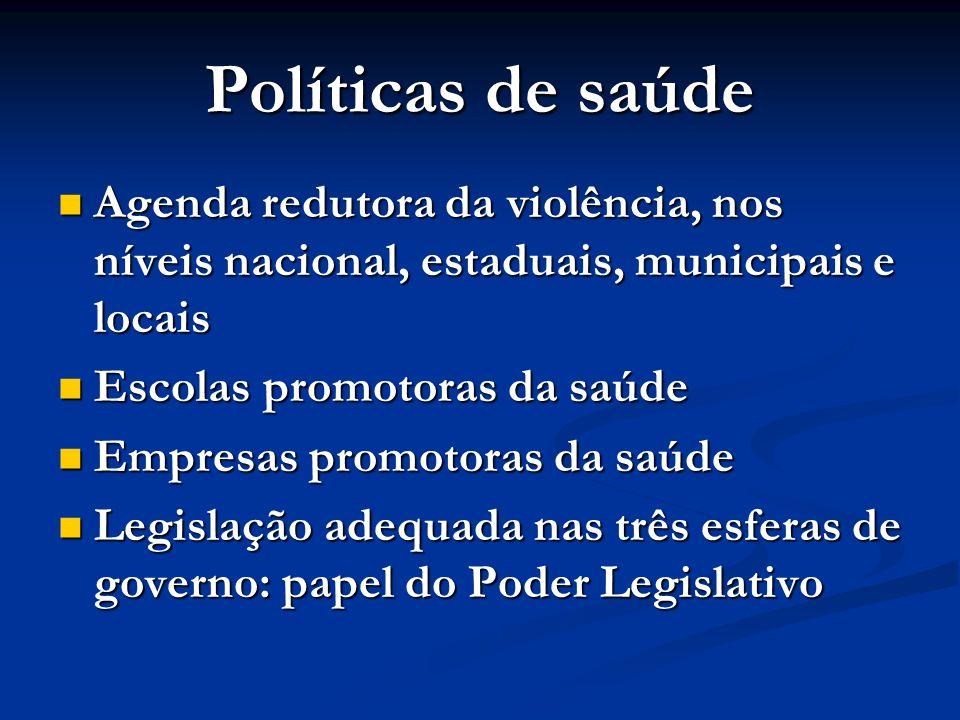 Políticas de saúde  Agenda redutora da violência, nos níveis nacional, estaduais, municipais e locais  Escolas promotoras da saúde  Empresas promot