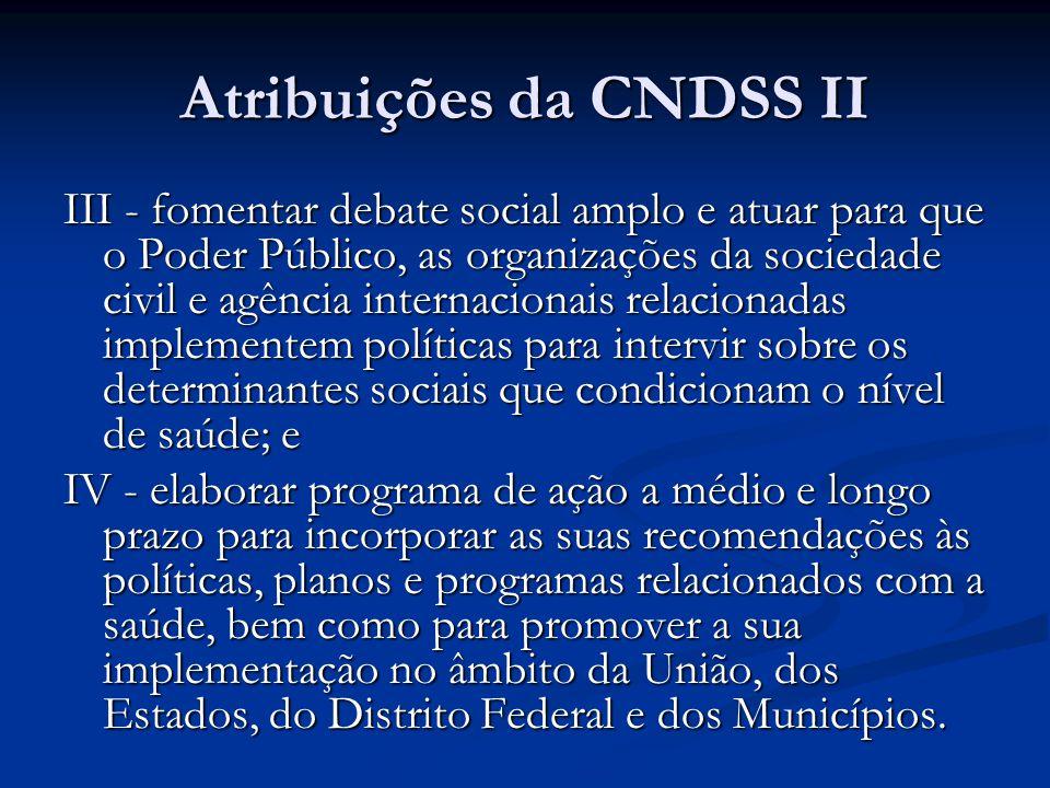 Atribuições da CNDSS II III - fomentar debate social amplo e atuar para que o Poder Público, as organizações da sociedade civil e agência internaciona