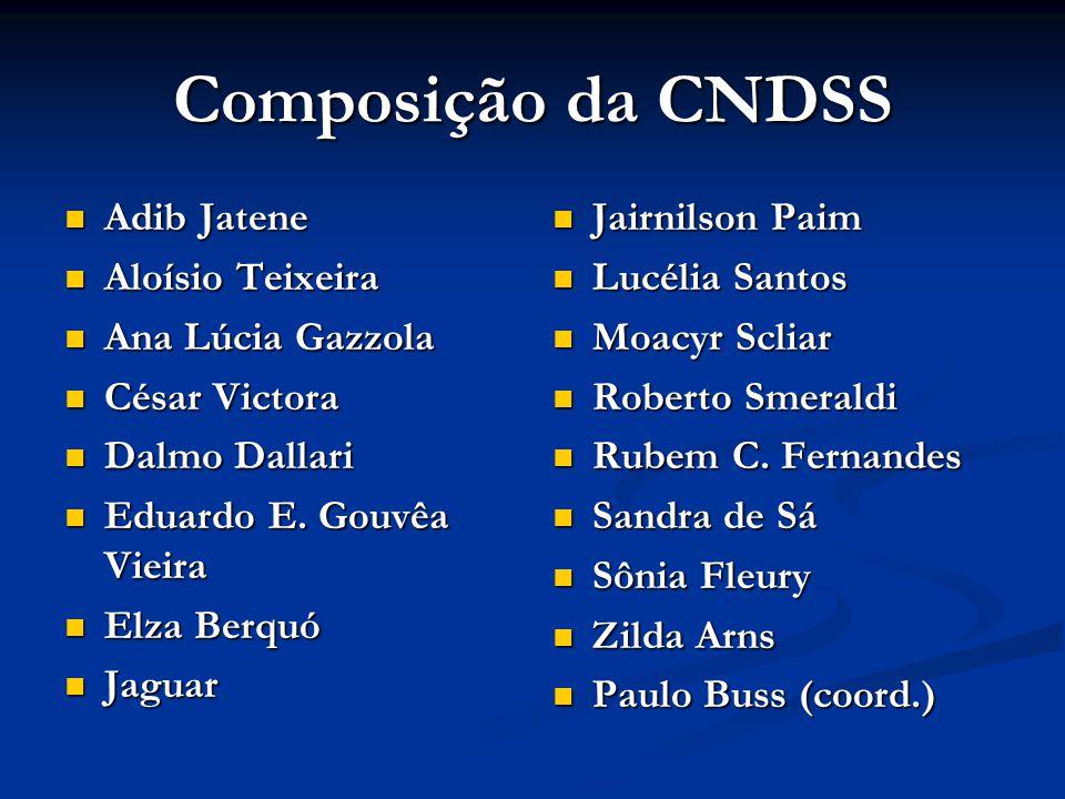 Composição da CNDSS  Adib Jatene  Aloísio Teixeira  Ana Lúcia Gazzola  César Victora  Dalmo Dallari  Eduardo E. Gouvêa Vieira  Elza Berquó  Ja