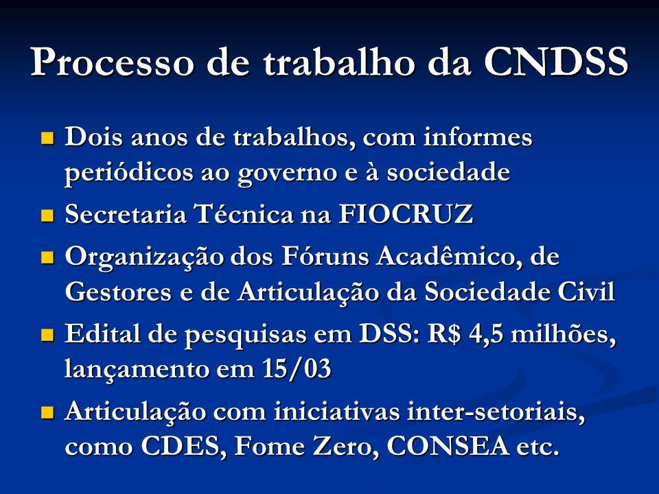 Processo de trabalho da CNDSS  Dois anos de trabalhos, com informes periódicos ao governo e à sociedade  Secretaria Técnica na FIOCRUZ  Organização