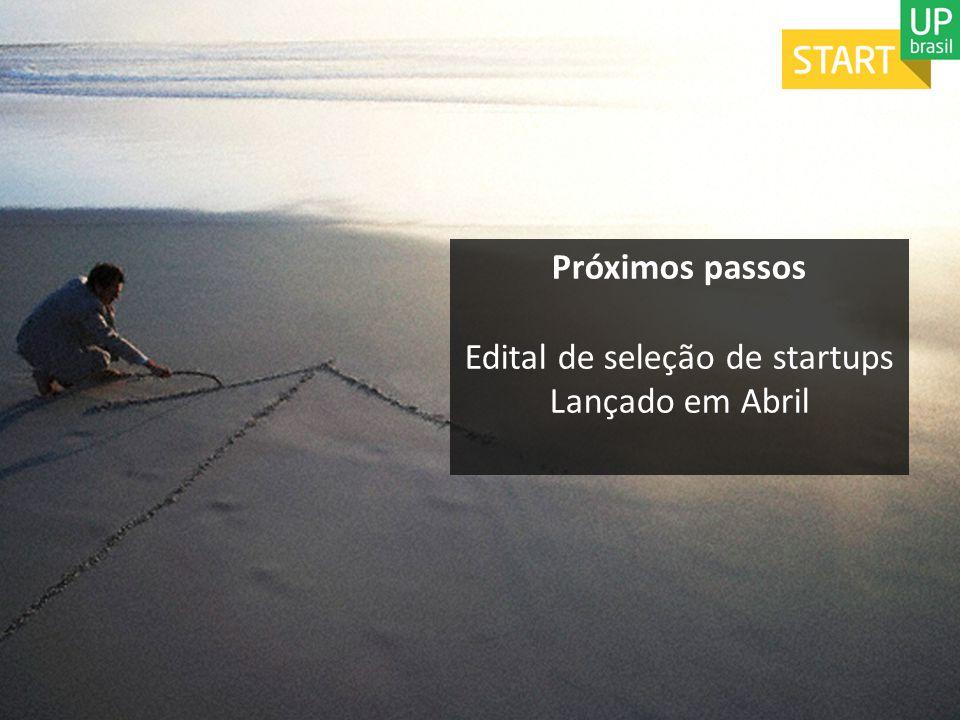 Próximos passos Edital de seleção de startups Lançado em Abril