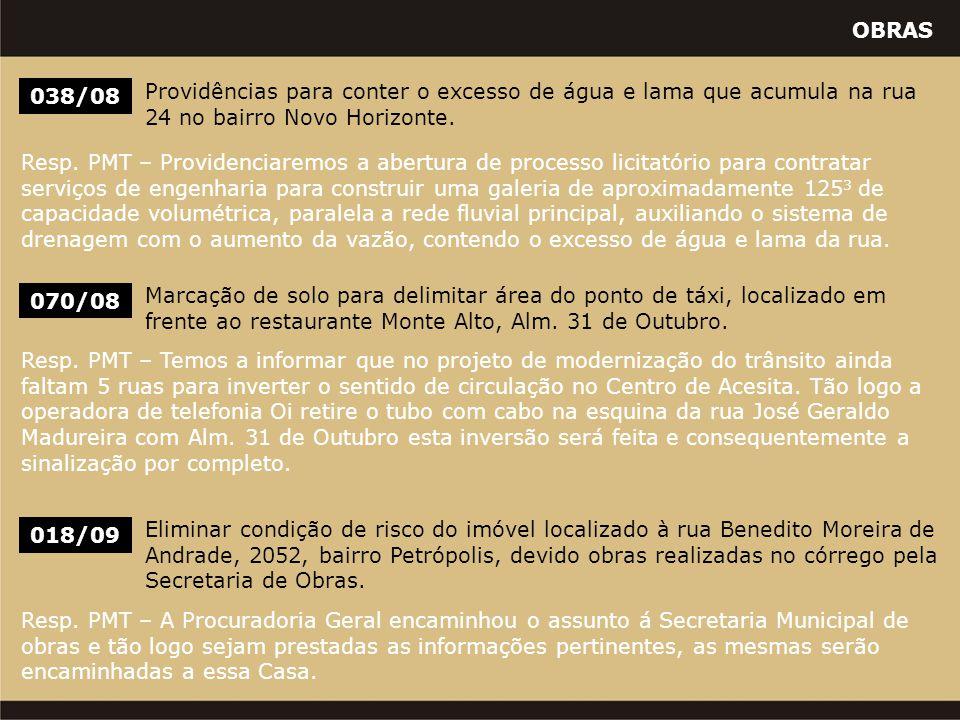 OBRAS 038/08 Providências para conter o excesso de água e lama que acumula na rua 24 no bairro Novo Horizonte. Resp. PMT – Providenciaremos a abertura