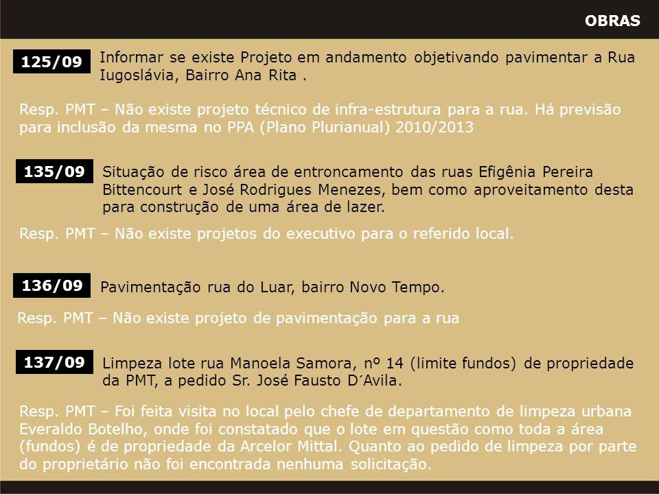 OBRAS 125/09 Informar se existe Projeto em andamento objetivando pavimentar a Rua Iugoslávia, Bairro Ana Rita.