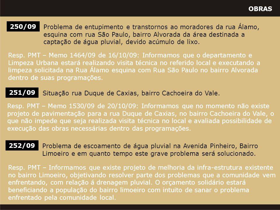 OBRAS 252/09 Problema de escoamento de água pluvial na Avenida Pinheiro, Bairro Limoeiro e em quanto tempo este grave problema será solucionado. Resp.