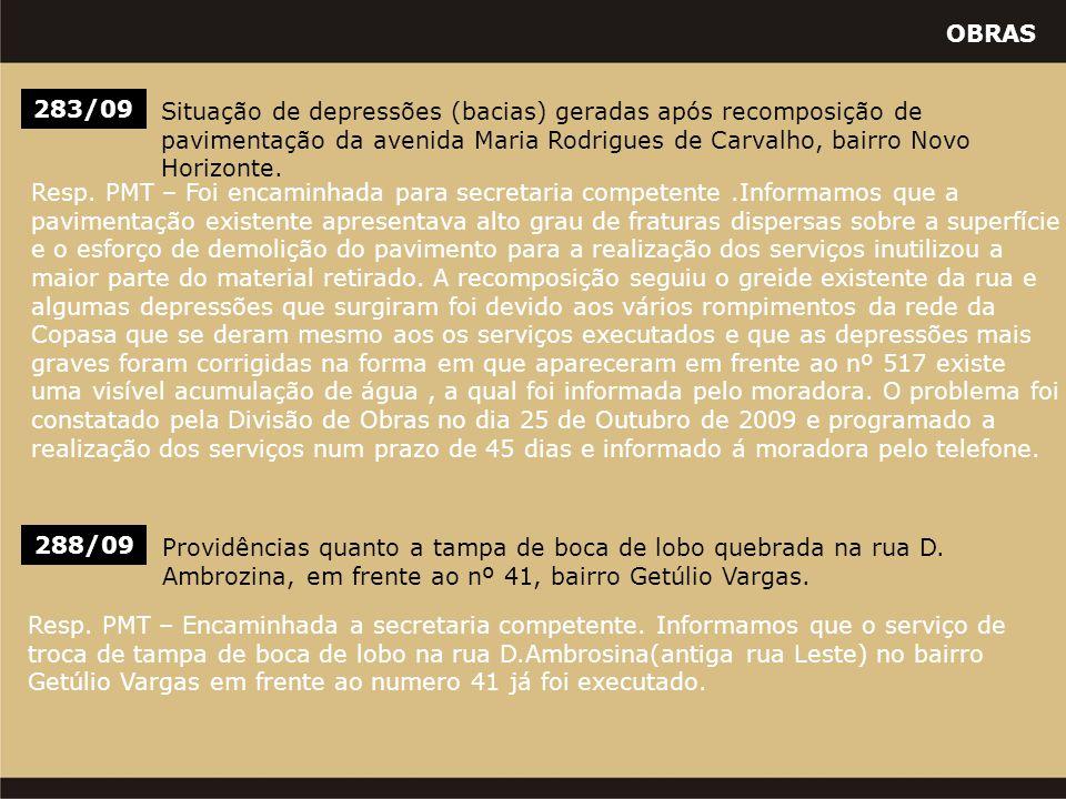 OBRAS 283/09 Situação de depressões (bacias) geradas após recomposição de pavimentação da avenida Maria Rodrigues de Carvalho, bairro Novo Horizonte.