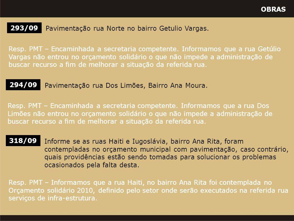 OBRAS 318/09 Informe se as ruas Haiti e Iugoslávia, bairro Ana Rita, foram contempladas no orçamento municipal com pavimentação, caso contrário, quais providências estão sendo tomadas para solucionar os problemas ocasionados pela falta desta.