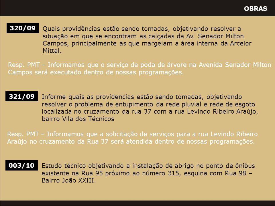 OBRAS 320/09 Quais providências estão sendo tomadas, objetivando resolver a situação em que se encontram as calçadas da Av. Senador Milton Campos, pri