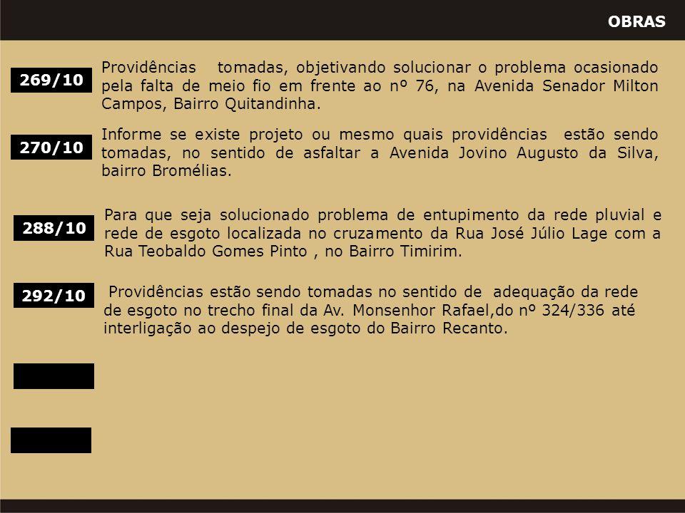OBRAS 288/10 Para que seja solucionado problema de entupimento da rede pluvial e rede de esgoto localizada no cruzamento da Rua José Júlio Lage com a