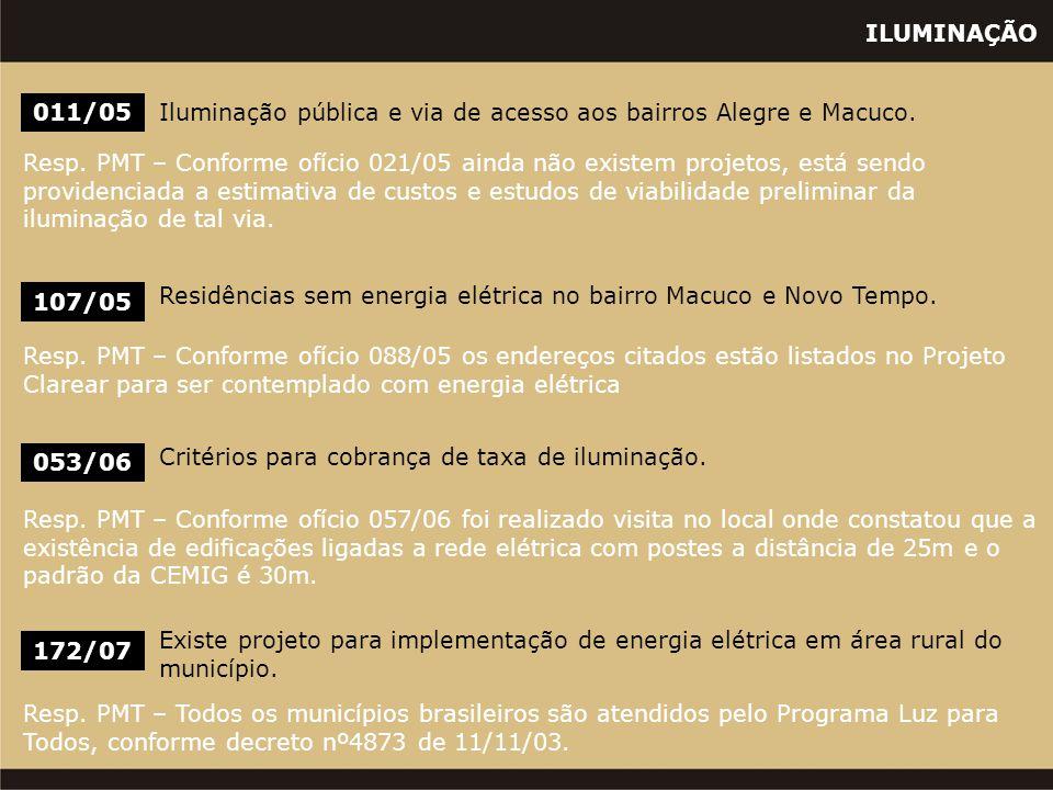 ILUMINAÇÃO 011/05Iluminação pública e via de acesso aos bairros Alegre e Macuco. Resp. PMT – Conforme ofício 021/05 ainda não existem projetos, está s