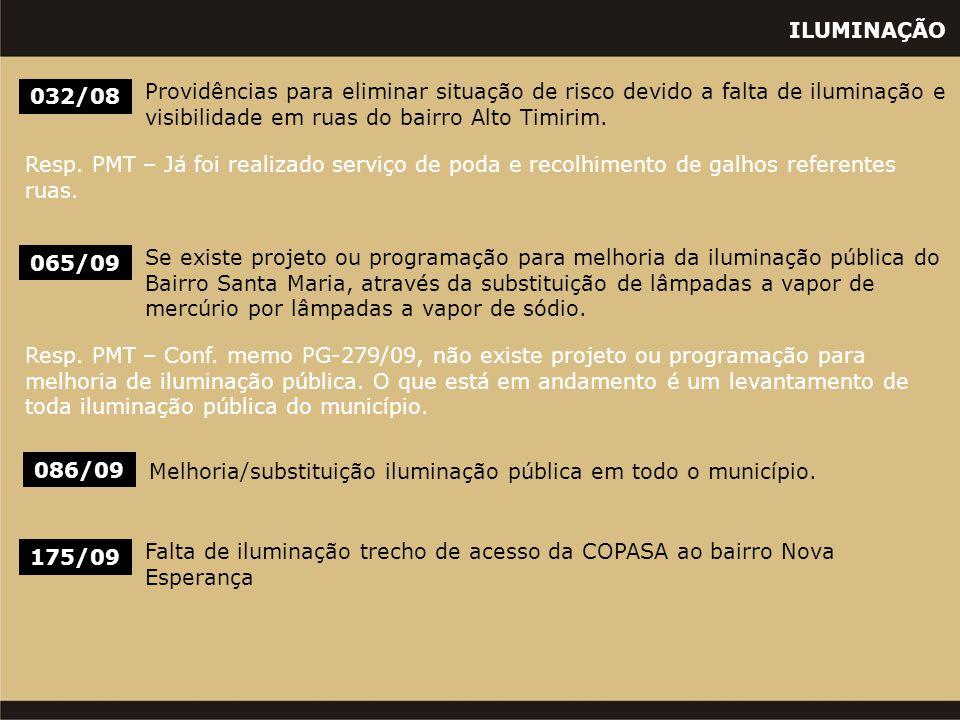 ILUMINAÇÃO 032/08 Providências para eliminar situação de risco devido a falta de iluminação e visibilidade em ruas do bairro Alto Timirim. Resp. PMT –
