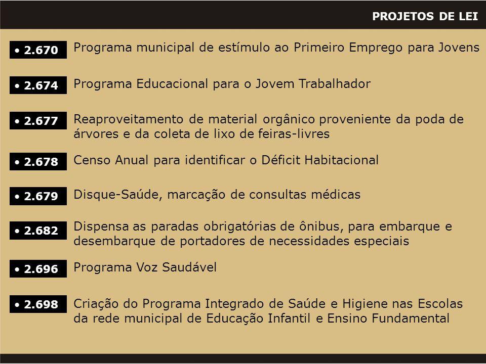 PROJETOS DE LEI • 2.670 Programa municipal de estímulo ao Primeiro Emprego para Jovens • 2.674 Programa Educacional para o Jovem Trabalhador • 2.677 R