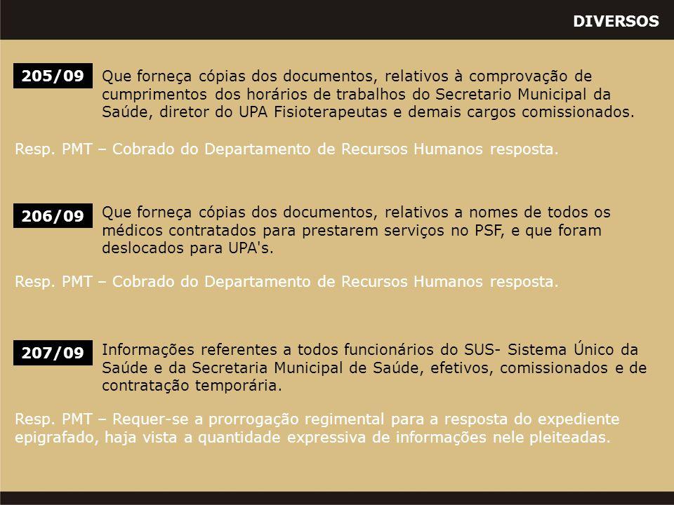 DIVERSOS 206/09 Que forneça cópias dos documentos, relativos a nomes de todos os médicos contratados para prestarem serviços no PSF, e que foram deslo