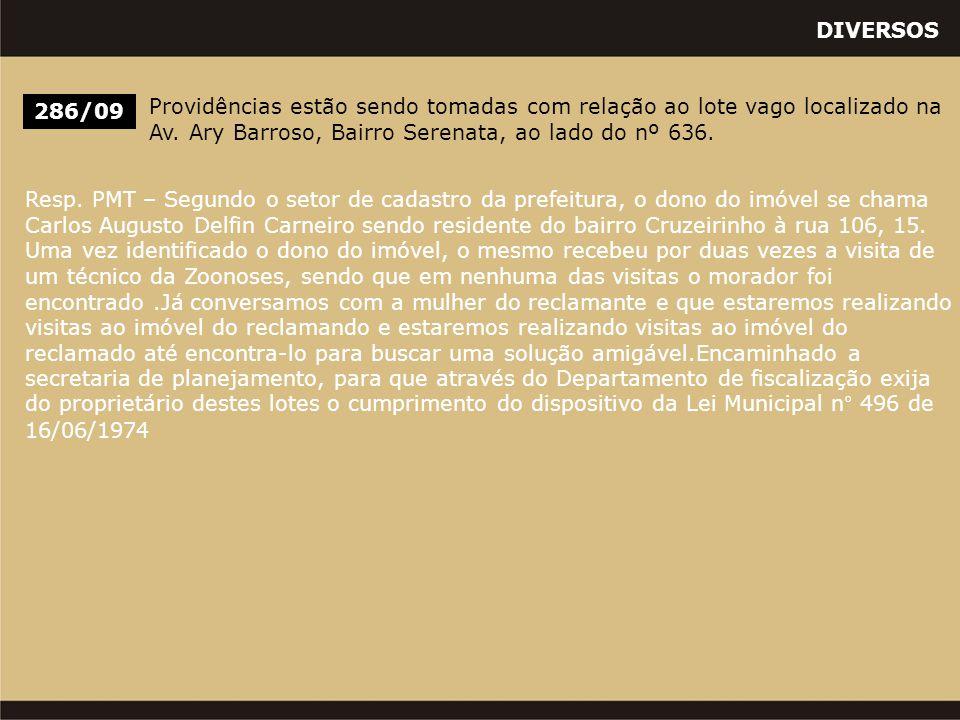 DIVERSOS 286/09 Providências estão sendo tomadas com relação ao lote vago localizado na Av. Ary Barroso, Bairro Serenata, ao lado do nº 636. Resp. PMT