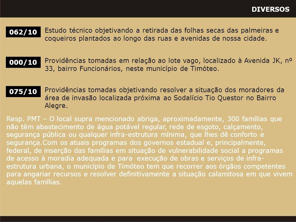 DIVERSOS 000/10 Providências tomadas em relação ao lote vago, localizado à Avenida JK, nº 33, bairro Funcionários, neste município de Timóteo. 062/10