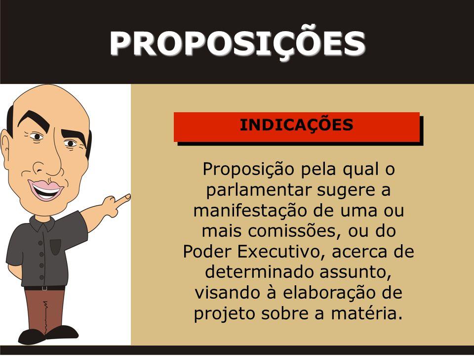 INDICAÇÕES PROPOSIÇÕES Proposição pela qual o parlamentar sugere a manifestação de uma ou mais comissões, ou do Poder Executivo, acerca de determinado assunto, visando à elaboração de projeto sobre a matéria.