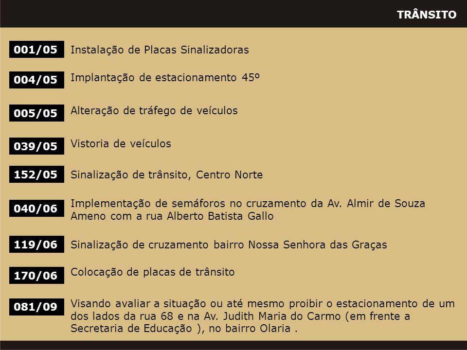 TRÂNSITO 001/05Instalação de Placas Sinalizadoras 004/05 Implantação de estacionamento 45º 005/05 Alteração de tráfego de veículos 039/05 Vistoria de