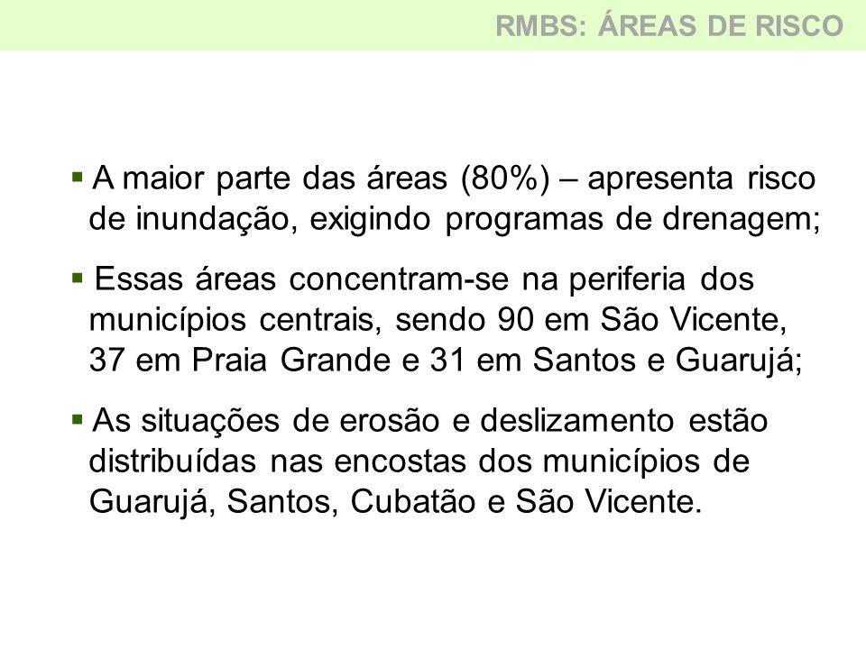  Número expressivo de áreas públicas e particulares invadidas, exigindo ações de monitoramento, regularização fundiária e/ou remoção da população;  Condição afeta várias áreas de preservação permanente, parques e encostas;  As ocupações em encostas concentam-se nos municípios de Cubatão, Guarujá e Santos; RMBS: ÁREAS DE RISCO