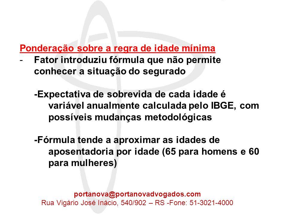 f = Tc x a x 1 + Id + (Tc x a) Es 100 +d+d d h = 1-f, se Id maior que 60 e tc maior que 35 d h = 1-f, se Id maior que 55 e tc maior que 30 Recomendações, segundo o IPEA: - Tese de idade é legítima, do ponto de vista do direito previdenciário - FP executa uma regra retardatária da aposentadoria, mas exagera na sua formulação estabelecendo norma instável e onerosa para o segurado Proposta: Nossa análise: -Com esta fórmula todos teriam FP igual a 1, independente do tc, o que prejudica quem entra cedo no mercado de trabalho -Fórmula aceitável, com mesma idade para servidor público, porém com prêmio para quem tivesse, por exemplo, 5 anos de tc, acima do tempo limite