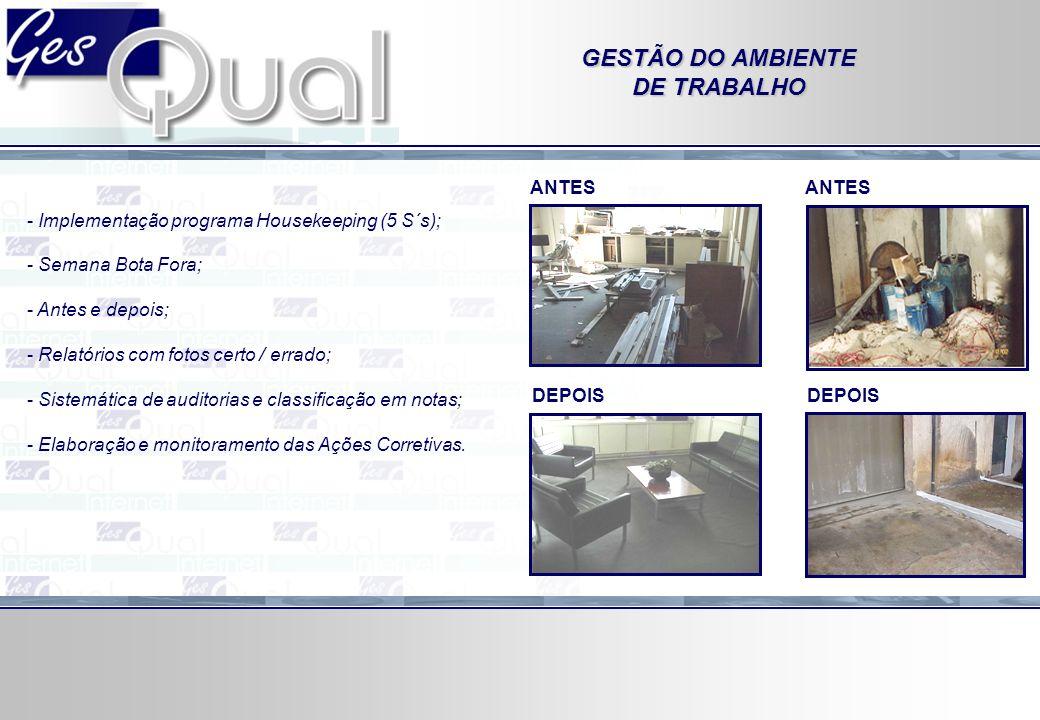 GESTÃO DO AMBIENTE DE TRABALHO - Implementação programa Housekeeping (5 S´s); - Semana Bota Fora; - Antes e depois; - Relatórios com fotos certo / err