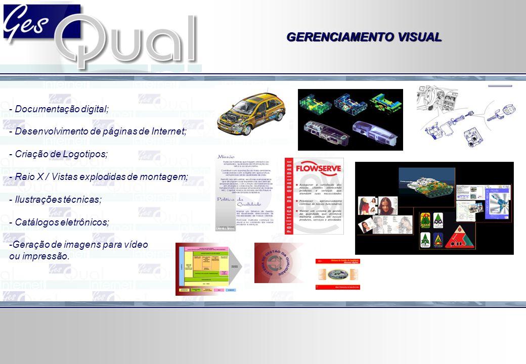 GERENCIAMENTO VISUAL - Documentação digital; - Desenvolvimento de páginas de Internet; - Criação de Logotipos; - Raio X / Vistas explodidas de montage