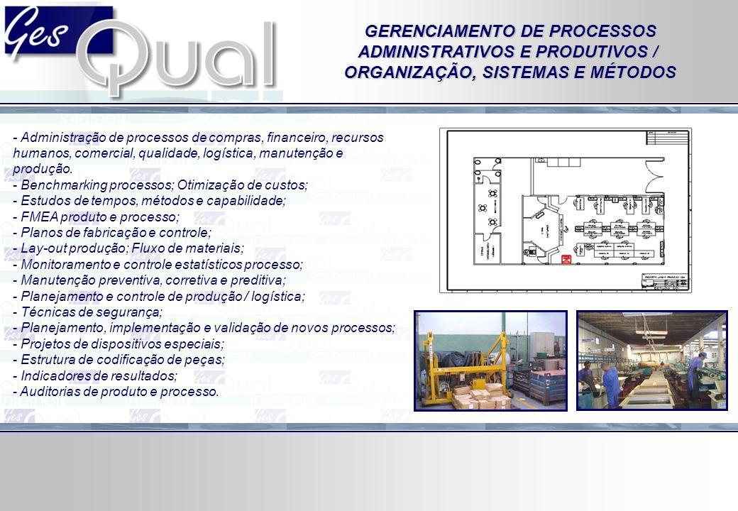- Administração de processos de compras, financeiro, recursos humanos, comercial, qualidade, logística, manutenção e produção. - Benchmarking processo