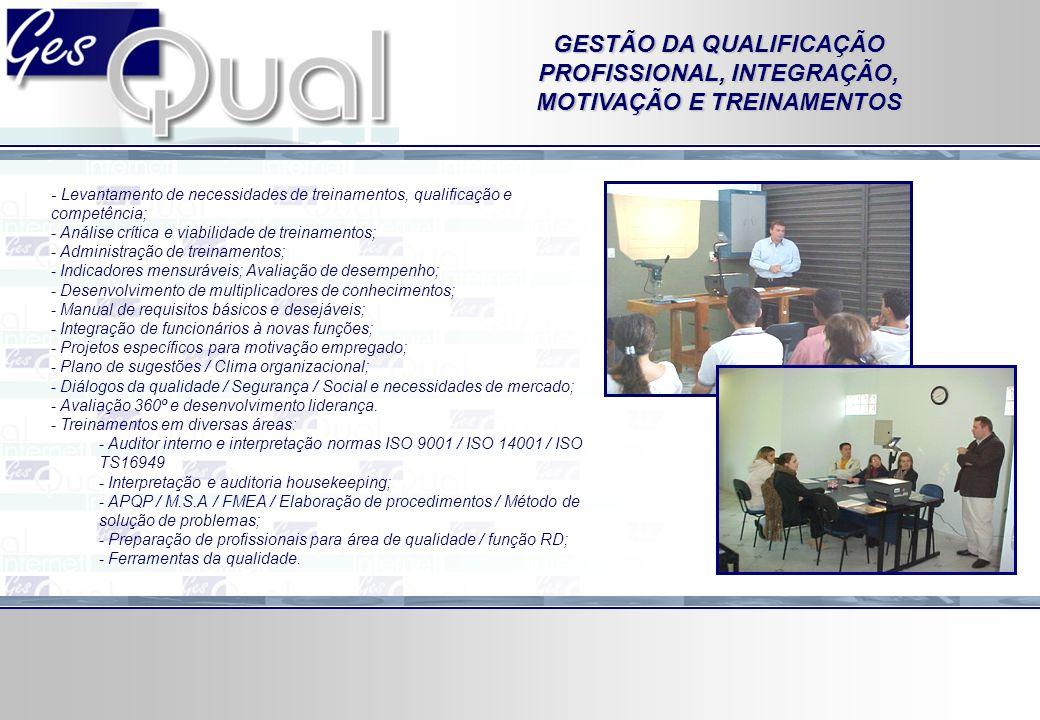 GESTÃO DA QUALIFICAÇÃO PROFISSIONAL, INTEGRAÇÃO, MOTIVAÇÃO E TREINAMENTOS - Levantamento de necessidades de treinamentos, qualificação e competência;
