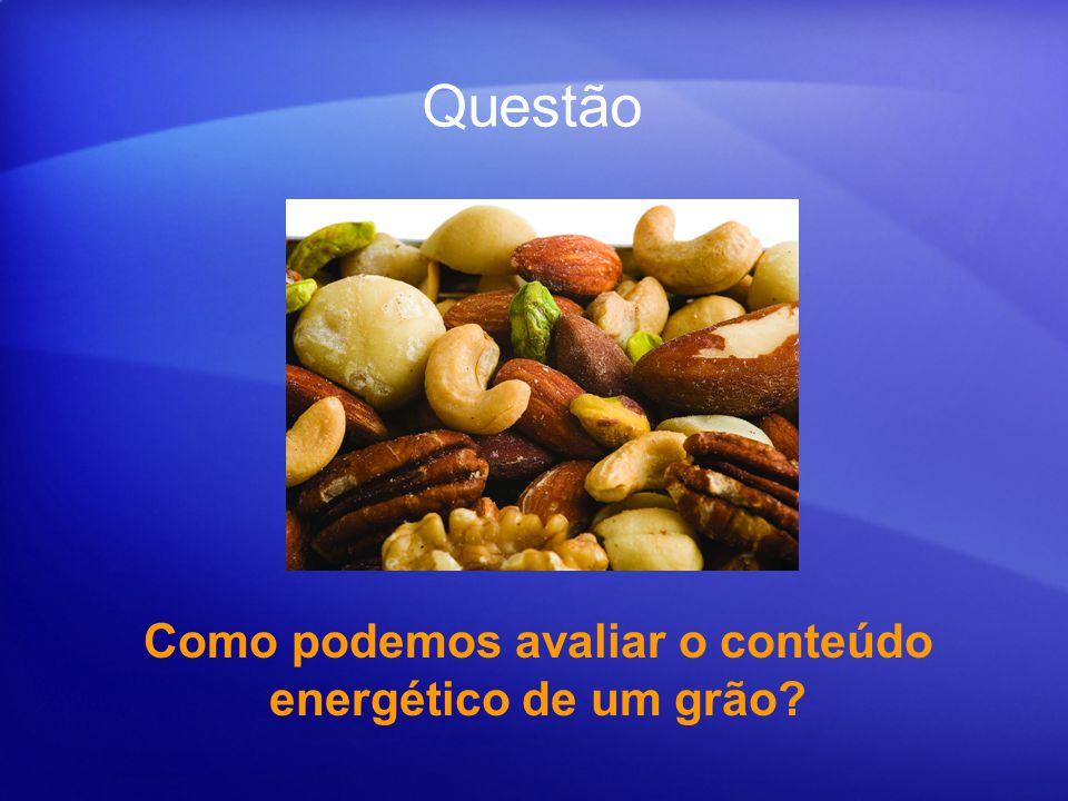 Experimento para avaliar a quantidade de energia produzida na queima de um grão de: Siga o roteiro proposto Amendoim Castanha de cajú Castanha do Pará Nóz Amendoa