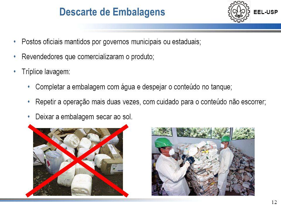 EEL-USP 12 Descarte de Embalagens •Postos oficiais mantidos por governos municipais ou estaduais; •Revendedores que comercializaram o produto; •Trípli