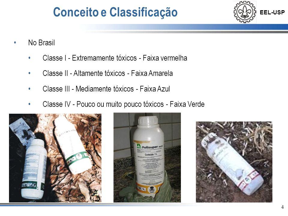 EEL-USP •No Brasil •Classe I - Extremamente tóxicos - Faixa vermelha •Classe II - Altamente tóxicos - Faixa Amarela •Classe III - Mediamente tóxicos -
