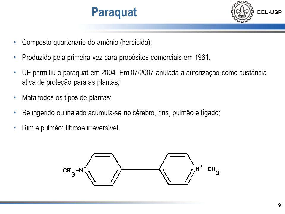 EEL-USP 9 Paraquat •Composto quartenário do amônio (herbicida); •Produzido pela primeira vez para propósitos comerciais em 1961; •UE permitiu o paraqu