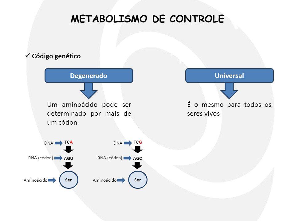 METABOLISMO DE CONTROLE  Código genético DegeneradoUniversal Um aminoácido pode ser determinado por mais de um códon É o mesmo para todos os seres vi
