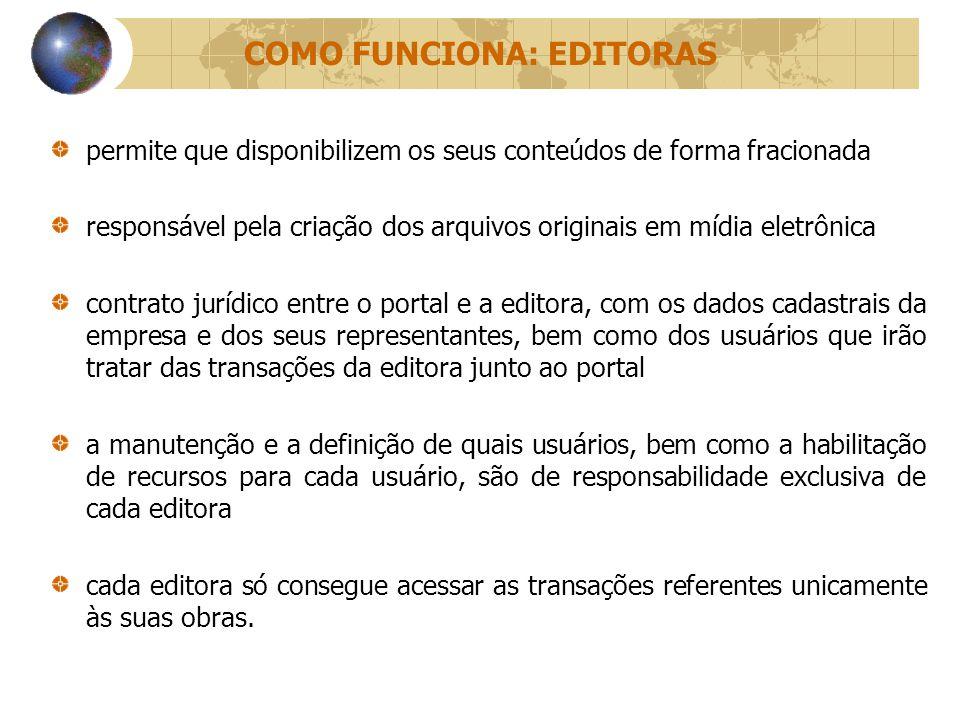 COMO FUNCIONA: EDITORAS permite que disponibilizem os seus conteúdos de forma fracionada responsável pela criação dos arquivos originais em mídia elet