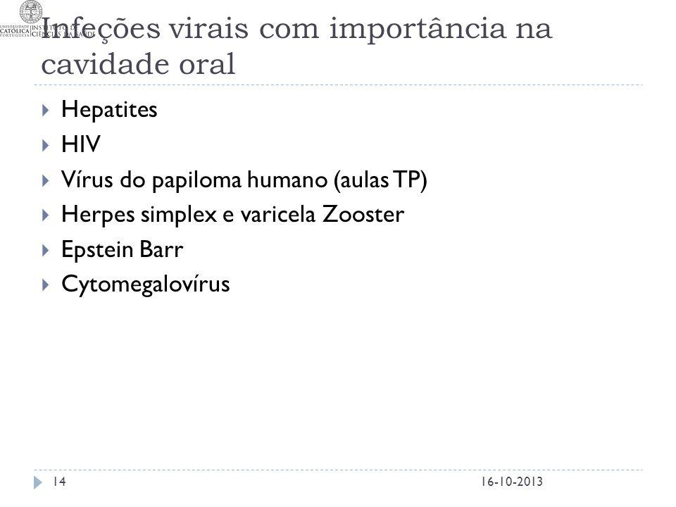 Infeções virais com importância na cavidade oral  Hepatites  HIV  Vírus do papiloma humano (aulas TP)  Herpes simplex e varicela Zooster  Epstein