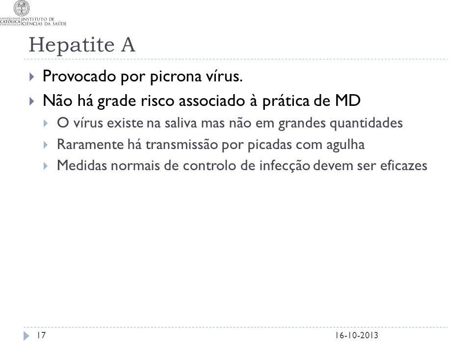Hepatite A  Provocado por picrona vírus.  Não há grade risco associado à prática de MD  O vírus existe na saliva mas não em grandes quantidades  R