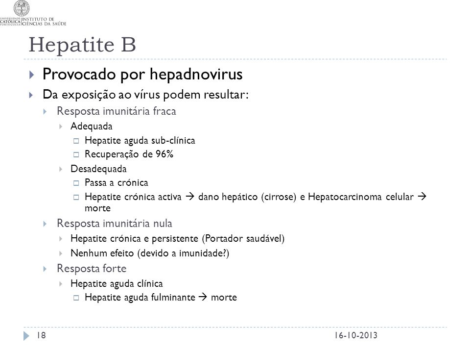 Hepatite B  Provocado por hepadnovirus  Da exposição ao vírus podem resultar:  Resposta imunitária fraca  Adequada  Hepatite aguda sub-clínica 