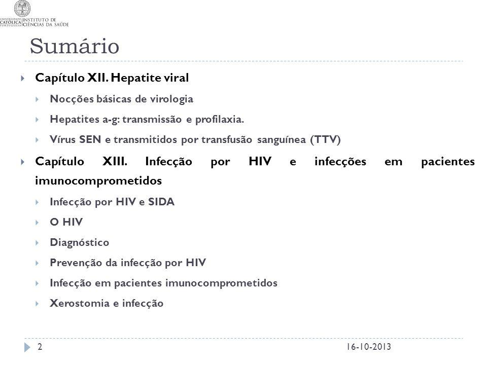 Sumário 2  Capítulo XII. Hepatite viral  Nocções básicas de virologia  Hepatites a-g: transmissão e profilaxia.  Vírus SEN e transmitidos por tran